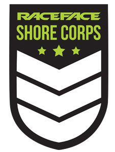 """Logo for the Race Face Shore Corps which is a military styled crest with three stars and three chevrons. The text of the logo states """"Race Face Shore Corps"""""""